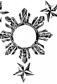 黑灰素描創意文藝太陽和星星紋身手稿