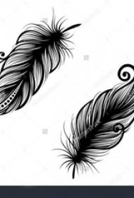 黑色的孔雀羽毛紋身簡單線條圖片紋身手稿素材