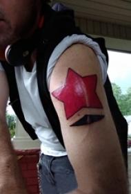 男生手臂上彩绘水彩素描创意文艺星星纹身图片