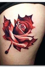 女生大腿上彩绘水彩素描创意文艺枫叶玫瑰纹身图片