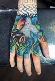 男生手背上彩绘水彩素描创意藤蔓纹身图片
