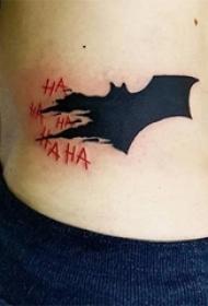 蝙蝠俠的黑色蝙蝠紋身圖案