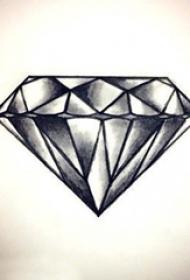 创意的黑色素描点刺技巧几何简单线条钻石纹身手稿