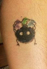 男生小腿上彩绘渐变几何简单线条卡通灰尘精灵纹身图片