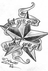 黑灰素描点刺技巧文艺经典星星纹身手稿