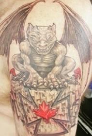 恶魔纹身简单 男生大臂上恐怖的恶魔纹身图片