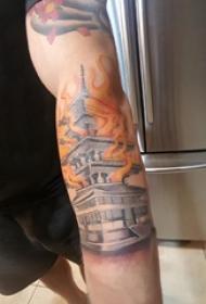 建筑物纹身  男生手臂上火焰和建筑物纹身图片