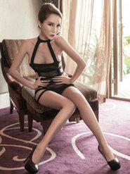 性感热辣冷艳陈怡曼时尚中国蕾丝内衣秀图片 美腿修长美腿