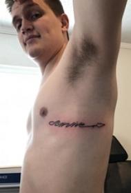 花体英文纹身 男生侧肋上花体英文纹身图案
