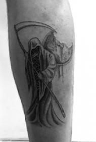 死神鐮刀紋身圖案 男生小腿上黑色的死神紋身圖片