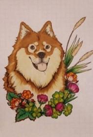 小狗紋身手稿 彩繪紋身小狗紋身手稿