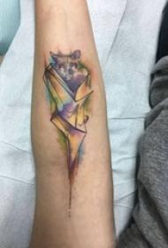 手臂紋身素材 男生手臂上彩色的蝙蝠紋身圖片