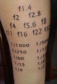 纹身数字设计 男生手臂上黑色的数字纹身图片