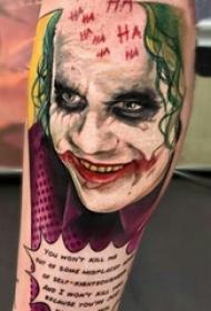 小腿对称纹身 男生小腿上彩绘的小丑纹身图片