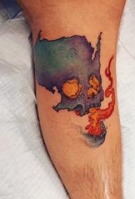 小腿对称纹身 男生小腿上火焰和骷髅纹身图片