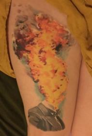大腿纹身传统 女生大腿上人物和火焰纹身图片