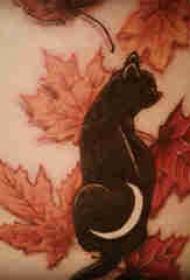 侧腰纹身男 男生侧腰上枫叶和猫咪纹身图片