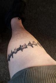 心電圖紋身圖片 男生小腿上心電紋身圖片
