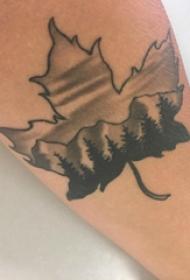 欧美小腿纹身 男生小腿上风景和枫叶纹身图片
