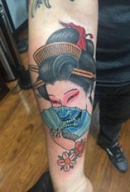 手臂纹身素材 男生手臂上艺妓和般若拼接纹身图片