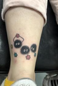 欧美小腿纹身 女生小腿上彩色的灰尘精灵纹身图片