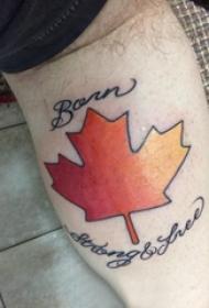 枫叶纹身图 男生小腿上英文和枫叶纹身图片