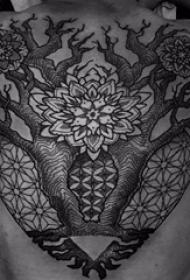 生命树纹身图案 男生背部生命树纹身图案