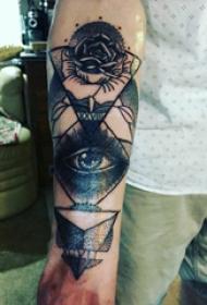 眼睛和花纹身图案  男生手臂上眼睛和花纹身图片