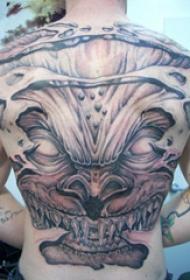 恶魔纹身简单 多款黑灰纹身点刺技巧大恶魔纹身图案