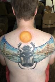 后背纹身男 男生后背上太阳和昆虫纹身图片
