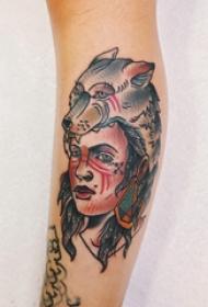 手臂纹身图片 女生手臂上狼头和人物纹身图片
