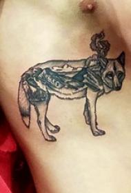 狼纹身 男生侧腰上黑灰的狼纹身图片