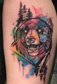 欧美小腿纹身 女生小腿上彩色的熊纹身图片