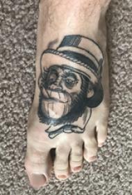 纹身猴子 男生脚部猴子纹身图片