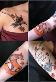 枫叶纹身 女生手臂上枫叶和动物纹身图片