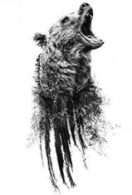 熊纹身 黑灰纹身熊纹身手稿