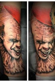 欧美小腿纹身 男生小腿上彩色的小丑纹身图片