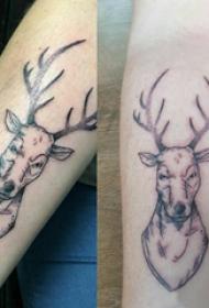 小动物纹身 平安彩票网手臂上黑色的麋鹿纹身图片