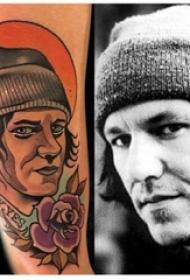 人物肖像纹身 男生手臂上人物肖像和太阳纹身图片