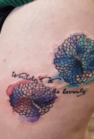 文藝花朵紋身 女生大腿上文藝花朵紋身圖片