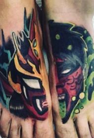 纹身彩色 男生脚部彩绘纹身图片