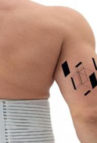 3d几何纹身图案  男生手臂上极简3d几何纹身图片