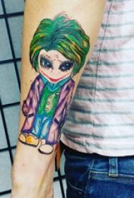 手臂纹身图片 男生手臂上彩色的卡通小丑纹身图片