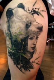熊猫纹身图 女生大腿上熊猫纹身图片