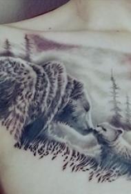 熊纹身  女生胸部熊和风景纹身图片