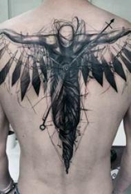 天使纹身 多款黑灰纹身点刺技巧天使纹身图案