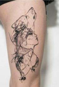 大腿紋身傳統 女生大腿上狼頭和人物紋身圖片