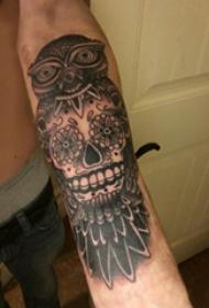 老鹰和骷髅纹身图案  男生手臂上老鹰和骷髅纹身图片