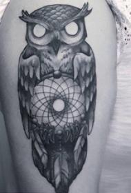 纹身猫头鹰  男生大臂上创意的猫头鹰纹身图片