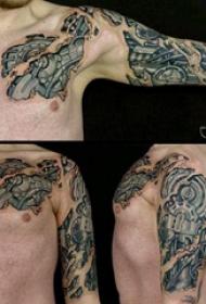 3d破皮机械纹身 男生手臂上帅气的3d破皮机械纹身图片